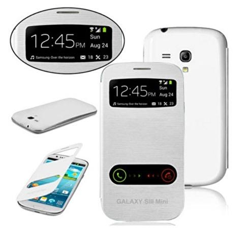 Microsonic Double View Delux Kapaklı Kılıf Galaxy S3 Mini İ8190 Beyaz Renkli